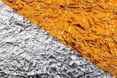 Серебр, предпосылки текстуры золота Текстура серебра и сусального золота стоковое фото rf