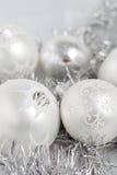 серебр рождества baubles стоковые фотографии rf