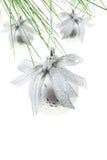 серебр рождества baubles стоковая фотография