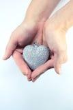 серебр сердца рождества Стоковая Фотография
