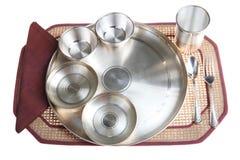серебр установки плиты обеда индийский традиционный Стоковое Изображение
