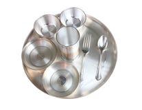 серебр установки плиты обеда индийский традиционный Стоковая Фотография RF