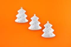 серебр 3 елей украшения рождества Стоковое Изображение