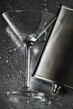 серебр martini склянки стеклянный стоковое фото
