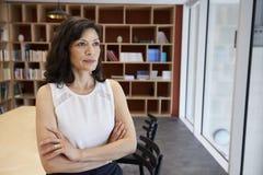 Середина постарела женские средства массовой информации творческие в ее офисе стоковое фото