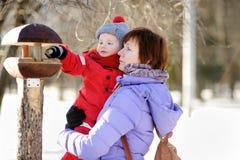 Середина постарела женщина и ее маленький внук на парке зимы стоковое изображение
