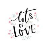 Серии влюбленности чернят оформление с розовыми и голубыми цветками Дизайн карточки дня ` s валентинки иллюстрация вектора