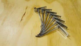 Серии железных инструментов показанных на том основании Стоковая Фотография RF