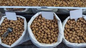 Серии здоровых грецких орехов в раковинах стоковое фото