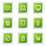 серии икон электроники зеленые штемпелюют сеть Стоковое Изображение