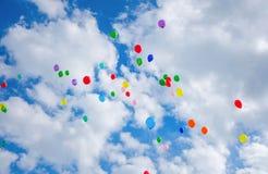 Серии красочный летать воздушных шаров Стоковое Изображение RF