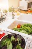 Серии свежих овощей для подготавливать салата Стоковое Изображение