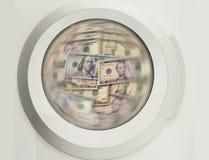 Серии стиральной машины очищая банкнот доллара - concpt показывая отмывание денег, грязные деньги, спрятанные зарплаты, зарплаты Стоковые Фотографии RF