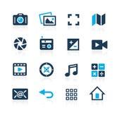 Серия лазури значков интерфейса средств массовой информации бесплатная иллюстрация