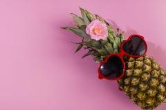 Серия ананаса с солнечными очками на желтой голубой и розовой предпосылке стоковые фотографии rf
