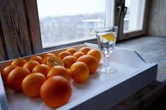 серия апельсинов на подносе Стоковые Фотографии RF