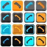 Серия голубых и оранжевых значков телефона Стоковая Фотография