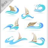 Серия графиков моря - наградные значки перемещения моря Стоковое Изображение