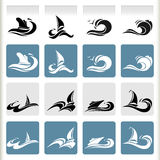 Серия графиков моря - наградные значки перемещения моря Стоковое фото RF