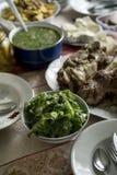 Серия еды на таблице Стоковое фото RF