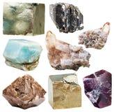Серия естественных минеральных кристаллических изолированных драгоценных камней Стоковое Фото