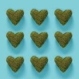Серия зеленых сердец мха на сини Стоковое фото RF