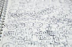 Серия значка избитой фразы на чистом листе бумаги Стоковая Фотография RF