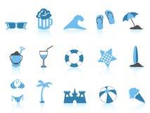 серия иконы пляжа голубая просто Иллюстрация штока