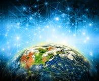 серия интернета руки самого лучшего глобуса принципиальных схем принципиальной схемы дела гловального накаляя Элементы этого изоб Стоковые Изображения