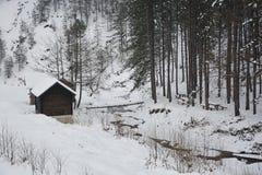 Серия коттеджа далеко от города в зиме Стоковые Изображения RF