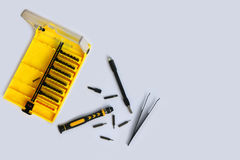 Серия малой отвертки установила для затягивать электронику Стоковые Фотографии RF