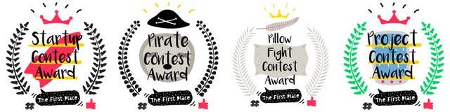 Серия милых смешных значков награды для детей бесплатная иллюстрация