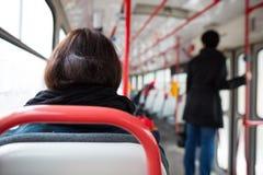 Серия общественного транспорта - принимающ трамвай закоммутируйте для работы стоковая фотография rf