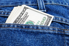 Доллары в карманн Стоковые Изображения