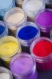 Серия пестротканой краски в опарниках для художничества состава Стоковое фото RF