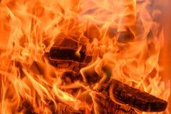 Серия пламен огня тяжело горящей древесины стоковые фото