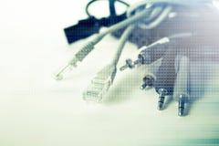 Серия предпосылки кабеля Usb и соединителя Av Стоковая Фотография RF
