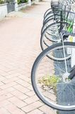 Серия припаркованных велосипедов Стоковое Фото