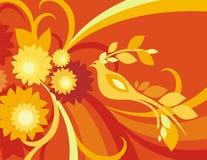 серия птицы предпосылки флористическая Стоковое Изображение