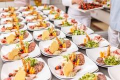 Серия плит еды закуски Стоковое Фото