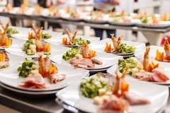 Серия плит еды закуски Стоковое фото RF