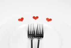 Серия ресторана, обедающий дня валентинки на белой предпосылке Стоковые Изображения RF