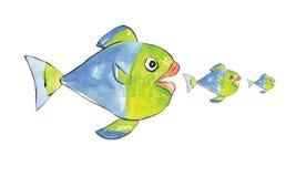 Серия рыб может нанести поражение большой рыбе Стоковые Фотографии RF