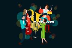 Серия состава концерта музыки при люди и женщины поя и играя саксофон, электрическую гитару, рояль и барабанчик бесплатная иллюстрация