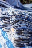 Серия текстуры демикотона джинсовой ткани голубой классическая мода индиго Стоковая Фотография