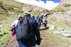 Серия туристского подъема горы радуги Перу Стоковая Фотография