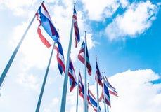 Серия флага Таиланда на голубом небе стоковые изображения rf