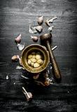 серия чеснока еды предпосылки Свежий чеснок и миномет с пестиком Стоковое Изображение