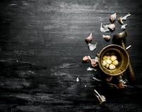 серия чеснока еды предпосылки Свежий чеснок и миномет с пестиком Стоковые Фото
