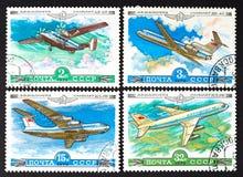 Серия штемпелей напечатанных в СССР, самолетов выставок, ОКОЛО 1979 Стоковое фото RF